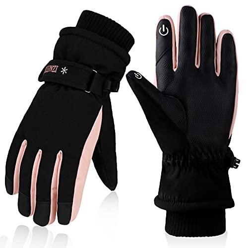 Anjetan Winter Damen Skihandschuhe:Touchscreen Winterhandschuhe Warm Winddicht Thermohandschuhe Wasserdicht Handschuhe für Fahrrad Reiten Laufen Skifahren Motorrad