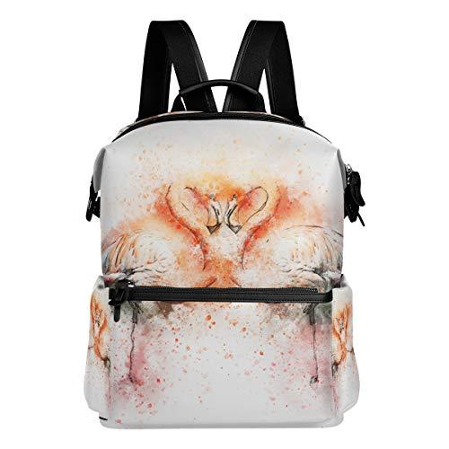 MALPLENA Animal Flamingo Art Painting Borsa scuola zaino zaino escursionismo