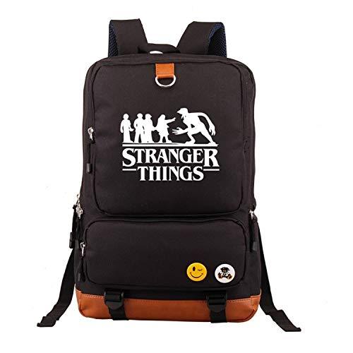 Memoryee Unisex Casual School Backpack Stranger Things Printed Laptop Rucksack Multi-Functional Daypack Book Satchel Hiking Bag Black