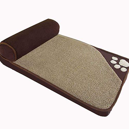 XUSHEN-HU Cama de perro de tela Oxford para mascotas, alivio ortopédico antideslizante cama de refuerzo, colchonetas de cama acolchadas-marrón S perro cama