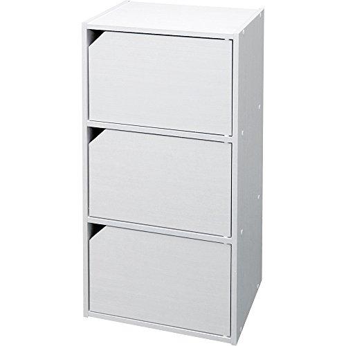 アイリスオーヤマ カラーボックス 収納ボックス 本棚 扉付き 3段 幅36.6×奥行29×高さ73.2cm オフホワイト モジュールボックス MDB-3D