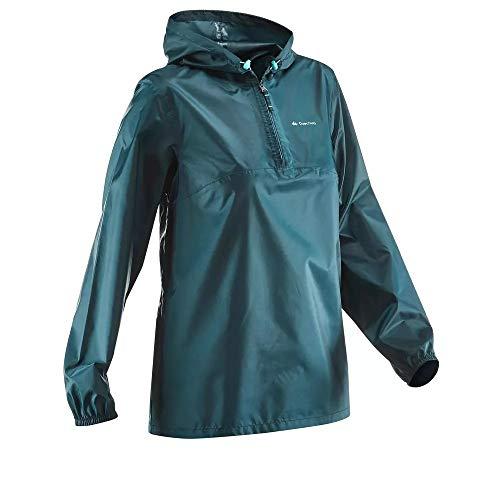 Quechua wasserdichte Regenjacke Faltbare Damen Größe XXL XXXL Blau NH100 Half Zip raincut Oversize XX-Large XXX-Large Regenmantel Regen Damenjacke