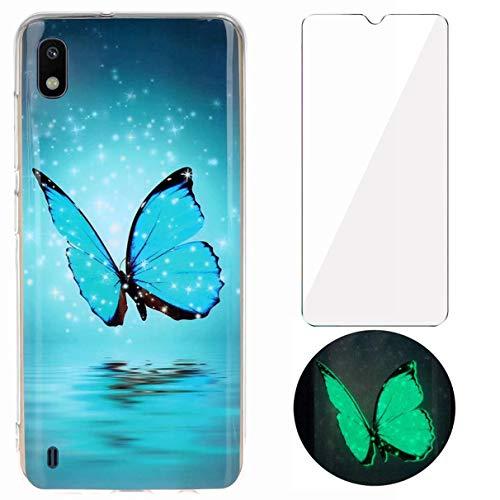YiKaDa - Cover per Samsung Galaxy A10 + Pellicola Protettiva in Vetro Temperato, Custodia Luminosa Morbida in Silicone TPU, Cover [Ultra Sottile] per Samsung Galaxy A10 - Glitter Farfalle