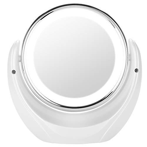 360 Degrés Miroir de Maquillage Grossissant , Portable Miroirs de Table 5X, Double Miroir de Voyage LED, éclairé pour Voyage Salle de Bains Miroir