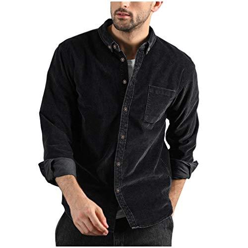 12222 Camisas Casual Chaquetas Hombre Otoño Moda Pana Abrigo Casual Manga Larga Color sólido Tops Botón Pana Blusa Casual