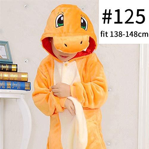 Pijama Unicornio Charizard Kigurumi la Historieta del Animado Onesie Kid de Familia for Adultos Divertido Pijama de Halloween Inicio En General Invierno Mono (Color : Yellow, Size : 12T)
