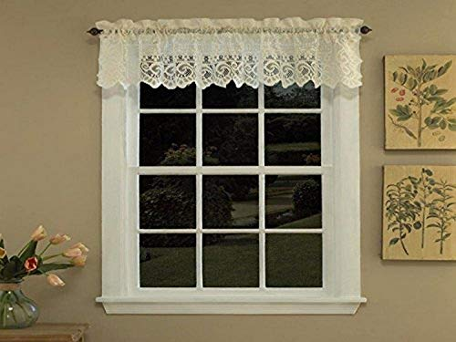 Sweet Home Collection Old World Style Floral Heavy Lace Kitchen Curtain Valance, Hopewell Cream