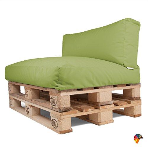 Arketicom Soft Set Doux Coussins pour Canapé Palette Dehoussable Jardin d'extérieur Hydrofuge 120x80 cm Vert Pistache