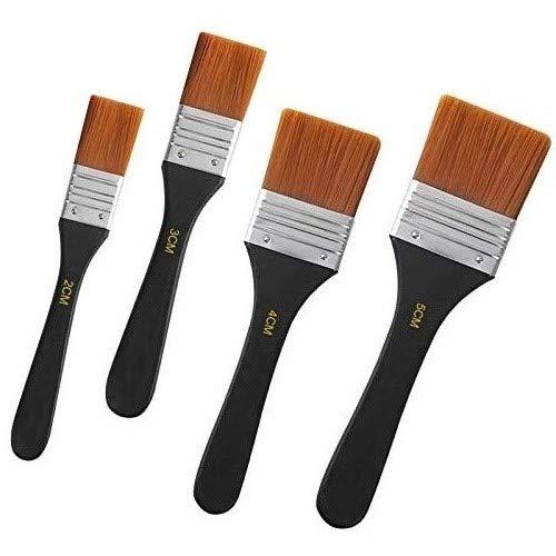 KAILEE Flachpinsel 4 Stück Aquarell Acryl Lasurpinsel Set Pinselset Malerpinsel Premium Lasurpinsel Malen Pinsel für Malerei Ölmalerei Ölfarben Bürste (20/30/40/50mm)
