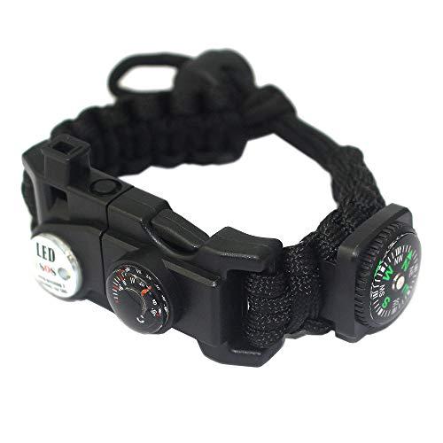 YzoTek Sport Paracord Armband -7 Schnur Gewebt Verstellbares Survival Schwarz Lässig Bracelet mit 20 Notfallwerkzeugen für Wildnis Jagd & Angeln