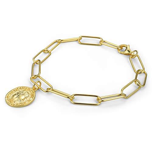 Lotus Fun S925 Sterling Silber Armband Geometrie Porträt Münze Medaille Kette Armbänder Kettenlänge 18cm, Natürlicher Kreativ Handgemachter Einzigartiger Schmuck für Frauen und Mädchen (Gold)