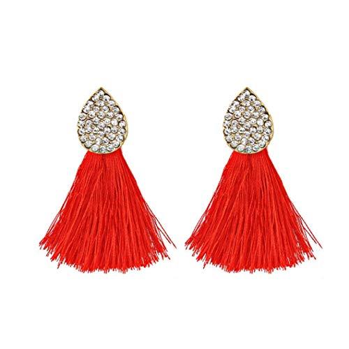 Fossrn Pendientes Mujer Flecos Rhinestones de estilo Tassel Dangle Aretes Joyería de moda (Rojo)