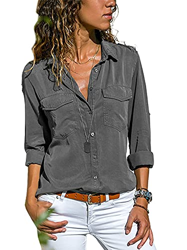 Camisas de manga larga con botones para mujer, blusa informal y túnica, gris, XXXXL