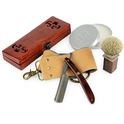 Rasiermesser mit Damast-Klinge und Mahagoni Holzgriff, Rasierseife, Rasierpinsel