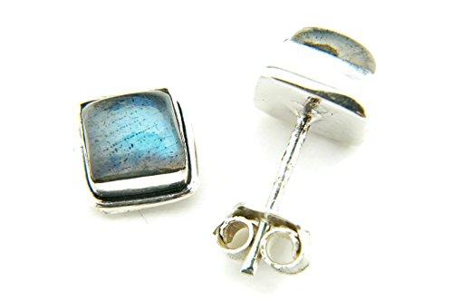 Labradorit Ohrstecker 925 Silber Sterlingsilber Ohrringe grün blau (MOS 22-05)