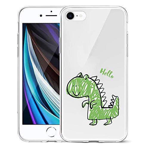Suhctup Compatible con iPhone 6/iPhone 6S Funda Silicona Transparente con Dibujos Lindo Cárcasa Ultrafina Suave Gel TPU con Animados Diseño Patrón Antigolpes Proteccion Cover,Dinosaurio