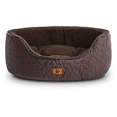 WINDRACING Luxury Dog Bed for Small Medium Dog Washable Removable Covers Oval Foam Pet Bed Sharpa Cozy Calming Anti-Anxiety Puppy Supplies Self Warming Cat Bed, Brown, Large