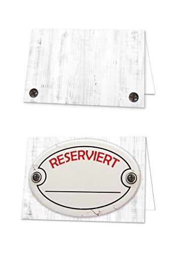 25 stuks retro wit rood hout-look RESERVIERD SCHILDERS tafelstandaard klapkaartjes kleine kaartjes voor de tafelreservering van de gasten in restaurant hotel 10,5 x 7,2 cm ingeklapt