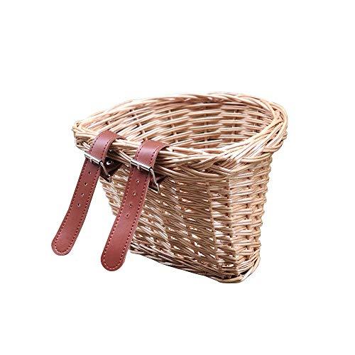 Wovatech Cesta de bicicleta para niños - Cesta de bicicleta de mimbre vintage - Manillar portátil en forma de D Cesta de bicicleta ligera para niños - Cesta delantera de bicicleta con correas de cuero