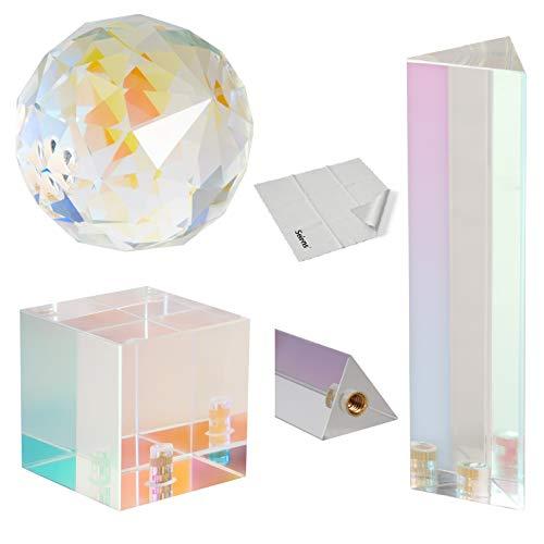 Selens Prisma Triangular + Bola + Cuadrado de Cristal de Revestimiento Óptico...