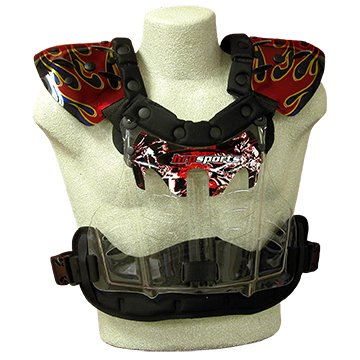Hrp Flak Jak RC Chest Protector (XLG (190-240 LBS)) black gold Red