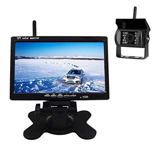 TOPRUI Cámaras de Marcha Atrás Inalámbrica Cámaras de Visión Kit 7 Pulgadas TFT LCD Monitor Señal Mejorada 2.4G / IP67 Impermeable / 18 LED de visión Nocturna para Coche/Camión/RVs