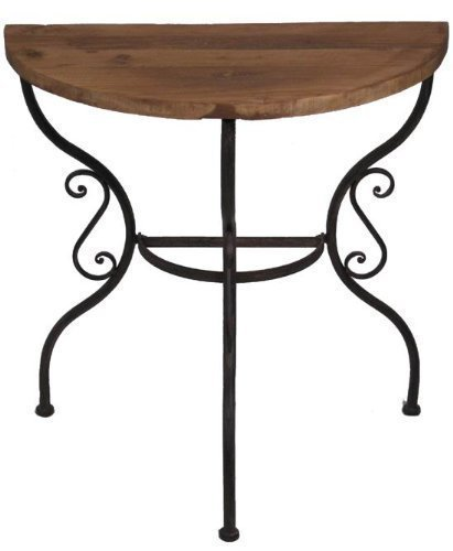San Marco Tisch Beistelltisch halbrund, Platte aus altem Ulmenholz 77922