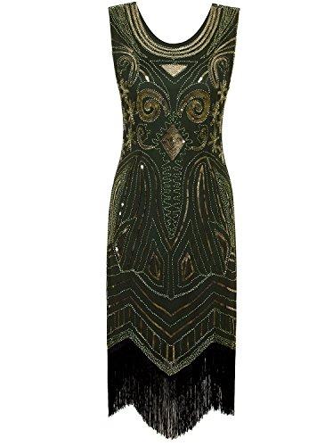 VIJIV Women's 1920's Vintage Gatsby Bead Sequin Art Nouveau Deco Flapper Dress Green Gold