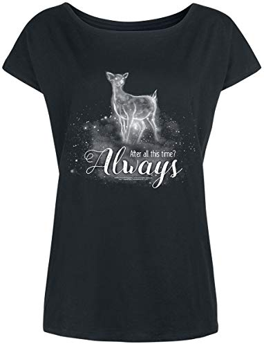 HARRY POTTER Always Mujer Camiseta Negro XL, 100% algodón, Ancho
