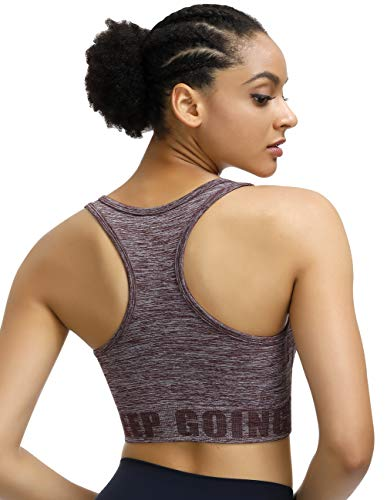 Disbest Damen Sport-BH, Yoga BH Starker Halt Fitness-Training Strech BH Bustier Push up Top Sports Bra mit Polster ohne Bügel (42/XL, Wine Rot)