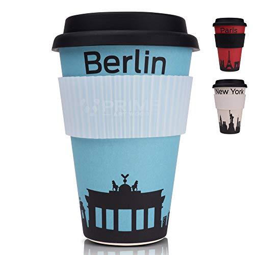 PRIME ART WOOD® Bambus Coffee-to-Go Becher (inkl. optimalem Hitzeschutz) Kaffee-Becher, Trink-Becher | Umweltfreundlich, Spülmaschinenfest, Lebensmittelecht, 450ml (Blau, Berlin)