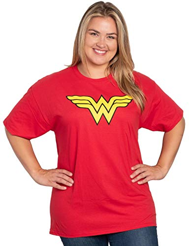 DC Comics Wonder Woman Plus Size T-Shirt Logo Graphic Costume Print (Red, 3X)