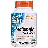 Doctor's Best Melatonin, Helps Promote Healthy Sleep, Jet-Lag, Brain Health & Cognitive Function, Non-GMO, Vegan, Gluten Free, 5 Mg, 120 Chewable Tablets