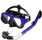 Seguridad Easybreath Profesional Gafas de Bucear Gafas de Natación Adultos Tubo Respirador Máscara de Buceo Máscara Snorkel Anti-Niebla Anti-Fugas Eficaz (Color : Blue)