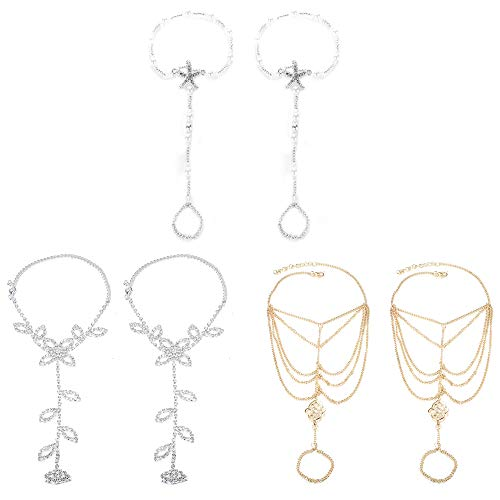 JOERICA 2-3 Pairs Foot Chain Barefoot Sandal for Women Girls Starfish Footless Ankle Bracelet Wedding Jewelry with Toe Ring