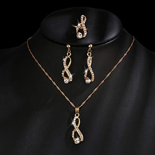RHYJKOJ Sieraden set Sieraden Set Kristal Lange Ketting Oorbellen Goud Kleur Ringen Eenvoudige Sieraden Voor Vrouw