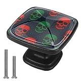 (4 piezas) tiradores de cristal de 1.18 pulgadas para cajones de cocina, pomos de armario, manijas bohemio, punk, rojo y verde calavera