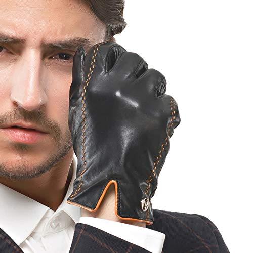 Nappaglo uomini italiano nappa, guanti di pelle touchscreen di pelle calda dei guanti con linee di colpire il colore