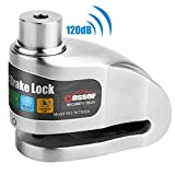 Oasser Motorcycle Disc Brake Lock 120dB Alarm Disc Lock, Stainless Steel Lock Large Capacity Battery Intelligent ON/Off Alarm Function for Motorcycle Bike Scooters(Gray)