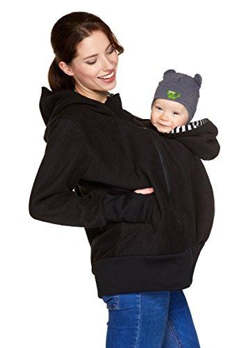 Be! Mama 3in1 - Tragejacke/Pulli & Umstandsjacke & Damenjacke in einem aus kuscheligem Fleece, Modell: Bergamo (S/M, 3in1/Schwarz)