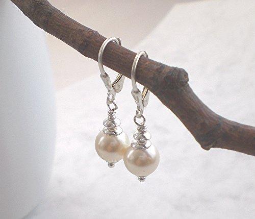 Klassische Perlenohrringe Muschelkern 925 Silber, Ohrhänger cremeweiß mit Brisur