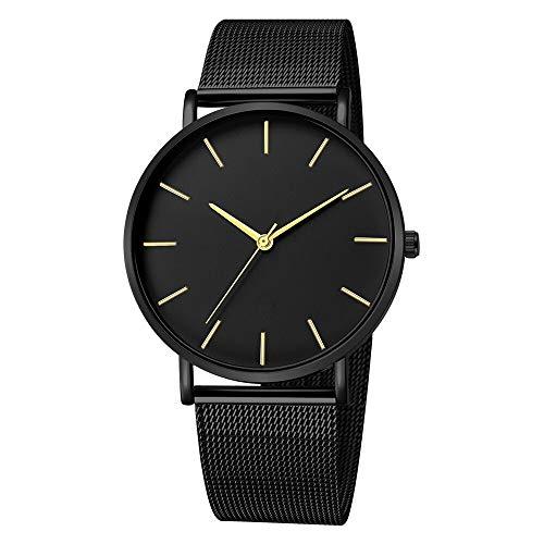 JZDH Relojes para Mujer Reloj de Las señoras, Reloj de Cuarzo Negro para Mujeres, Pulsera de Malla de Acero Inoxidable, Reloj de Pulsera Casual Relojes Decorativos Casuales