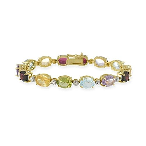 Edles Armband mit Granat, Amethyst, Citrin, Peridot, Topas und Diamant Akzent, 24 Karat Gold Vermeil