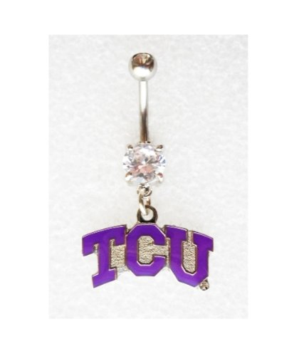 TCU TEXAS CHRISTIAN UNIVERSITY HORNED FROGS Navel Belly Button Ring Body Jewelry Piercing