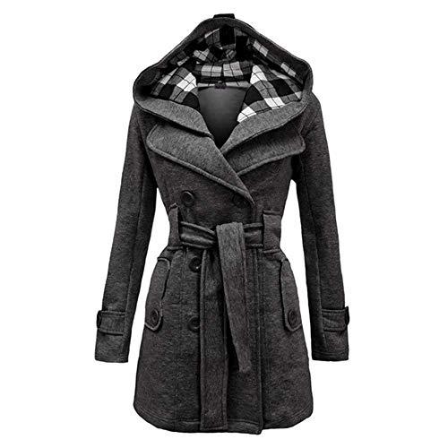 PXFX nieuwe dames capuchon jas slank dubbel borst riem capuchon herfst winter wol mix casual effen kleur jas dames warme jas