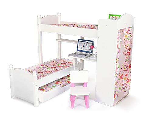 Playtime by Eimmie - 18 Inch Doll Bunk Bed Set w/ Loft, Trundle, Accessories and Bedding- Bedroom Set for 18 Inch Dolls- Includes Doll Bed, bunk Bed and Accessories