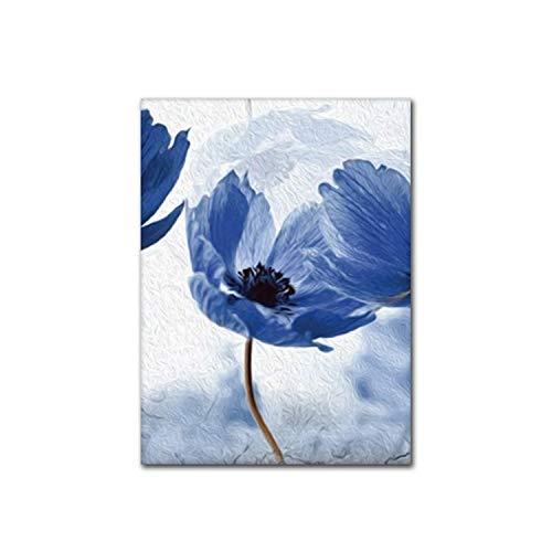 Amanda HoratioSimple Blue Flowers Dekorative Gemälde auf Leinwand Poster und Drucke Wandbild für Wohnzimmer Zuhause Dekoration in Malerei Kalligraphie von Home Garden A2, 42 x 59 cm, ohne Rahmen