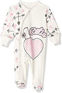 Jockey Cutie Letter Print Long Sleeves Front Snap Closure Romper for Girls - White, 3-6 Months