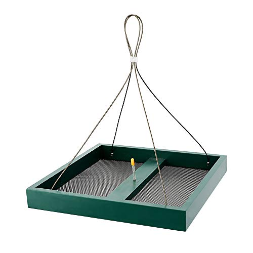 Solution4Patio Homes Garden Platform Bird Feeder, Large Hanging Tray Squirrel Feeder, Maximum Bird Viewing, Large Capacity, Easy to Clean & Refill, #B116A00