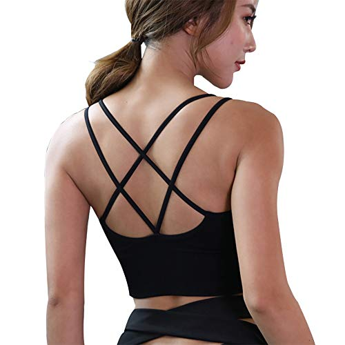 Lianshp Cross Back Strappy Sports Bra Padded Wirefree Yoga Workout Bras